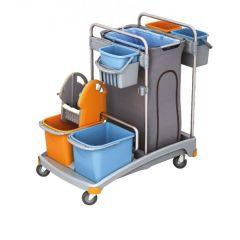 Putzwagen Reinigungswagen-Set Kunststoff, Müllsackhalter, 2 Eimern und Mopppresse, 2 kleine Eimer