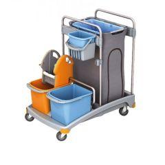 Putzwagen Reinigungswagen Set Kunststoff, Müllsackhalter, 2 Eimern und Mopppresse, 1 kleiner Eimer