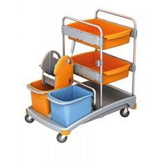 Reinigungswagen-Set mit Moppresse, 2 Eimern, 2 Fächern und Ablagefläche