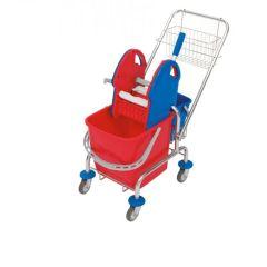 Einfachfahreimer Putzwagen, Deichsel, verchromt mit 20 l Eimer, Presse, Gitterkorb und 5 Liter Eimer