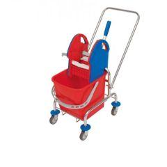 Wischwagen Einfachfahreimer Putzwagen mit Deichsel, verchromt mit 20 l Eimer und Kunststoffpresse