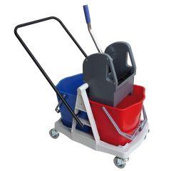 Doppelfahrwagen Kunststoff 2 Eimer, Presse und Fahrgestell