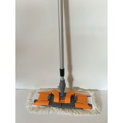 CleanSV Mop Set Profi Laschenmop 50 cm, Klapphalter für Laschenmop, 1 Laschenmop und einen Teleskopstiehl