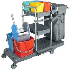 CleanSV® Deluxe Profi PE Reinigungswagen Kunststoff voll ausgestattet mit 6 Eimern, Presse, Ablagen und Müllsa