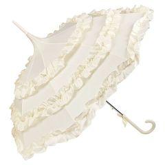 Von Lilienfeld Regenschirm Brautschirm Pagodenschirm mit Rüschen creme Lilly