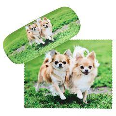 Von Lilienfeld Brillenetui Chihuahua Hardcase incl.Brillentuch Hundemotiv