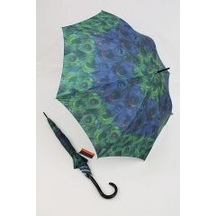 Pierre Cardin Regenschirm Stockschirm Damen Pfauenmuster grün
