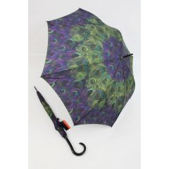 Pierre Cardin Regenschirm Stockschirm Damen Pfauenmuster lila