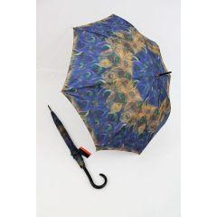 Pierre Cardin Regenschirm Stockschirm Damen Pfauenmuster blau