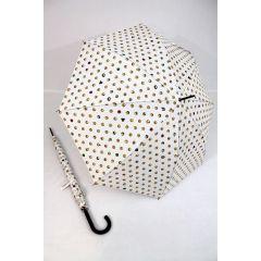 HAPPY RAIN Stockschirm Emoticons weißer Regenschirm für Damen und Herren