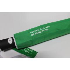 Benetton grüner Regenschirm Taschenschirm Auf-Automatik