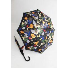 Pierre Cardin bunter Regenschirm Stockschirm für Damen Layered Leafs schwarz
