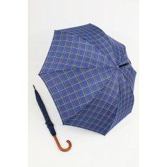 Happy Rain großer Stockschirm blau karierter Regenschirm 118 cm