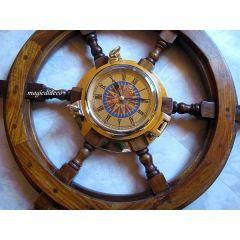 **Großes Steuerrad mit Schiffsuhr- Windrose- sehr masssiv und schwer- 60 cm