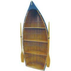 **Großes Regal in Bootsform- mit Paddeln- Holz- teilweise bemalt- 135 cm