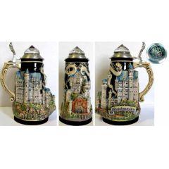 3D-Relief Bierkrug-Neuschwanstein- Kristalldeckel -German Beer Stein-Feinsteinzeug mit Zinndeckel