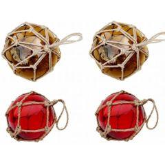 4 Fischerkugeln im Netz- ambere/braun und rot