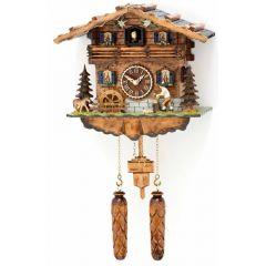 Orig. Schwarzwald-Kuckucksuhr-beweglichen Holzhacker,drehendes Rad und 12 Melodien -Cuckoo Clocks