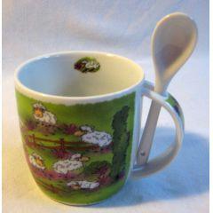 2 Stück- Porzellan- Tasse, Kaffeepott, Becher mit Löffel- Lüneburg - deutsches Produktdesign