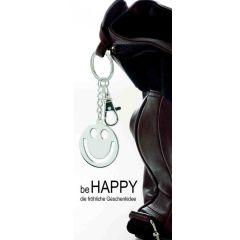 **2X Schlüsselanhänger Happy, Smiley mit Karabiner- versilbert