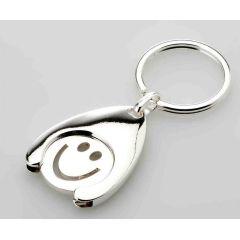 **2X Schlüsselring Happy, Smiley mit Einkaufchip- versilbert