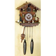 Orig. Schwarzwald-Kuckucksuhr- Schwarzwaldhaus mit Hund-Cuckoo Clock-handmade Germany Black Forest