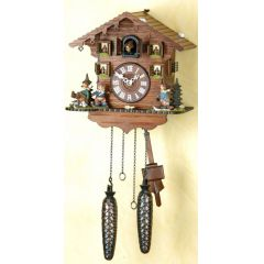 Orig.Schwarzwald-Kuckucksuhr-Waldhaus mit Eichhörnchen-Cuckoo Clock-handmade Germany Black Forest (