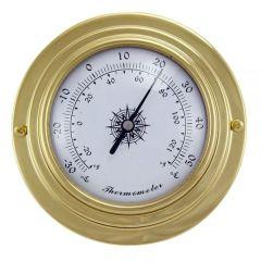 **Kleines, leichtes Thermometer in Bullaugenform aus Messing- Durchmesser 10 cm