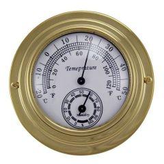 Kleines, leichtes Thermo-/Hygrometer in Bullaugenform aus Messing- Durchmesser 10 cm