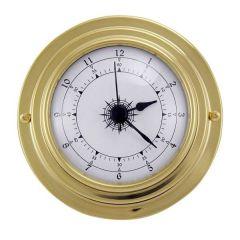 Kleine, leichte Uhr in Bullaugenform aus Messing- Durchmesser 10 cm