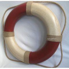 **Großer Rettungsring rot/creme bemalt, Ø 50 cm, Antikdesign