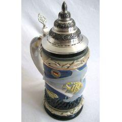 Relief Bierseidel - Meerestiere- Fish, Dolphin- German Beer Stein, Beer Mug-Zinndeckel