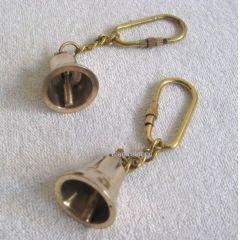 **2X Schlüsselanhänger- Glocke- massiv Messing- Karabiner