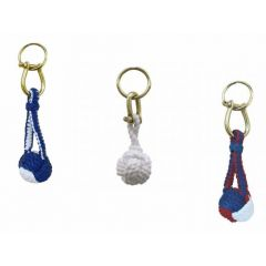 **3X Schlüsselanhänger- Zierknoten, Wurfknoten mit Schäkel/Schlüsselring- Baumwolle, Messing