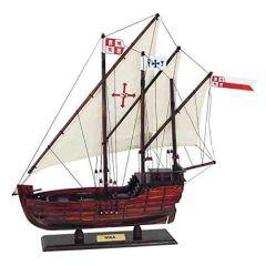 **Historisches Schiffsmodell- spanischer Dreimaster- Kolumbus aus Holz mit Leinensegeln