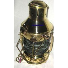 **Sehr massive Petroleum- Schiffslampe - Schiffsleuchte - Messing H 33 cm