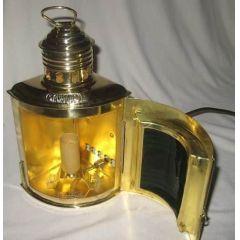 **Schiffslampe -Schiffsleuchte -Signallampe- Messing H 23 cm- elektrisch 230V- rot