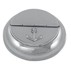 **maritimer Aschenbecher - Messing, vernickelt - mit Ankermotiv auf Deckel