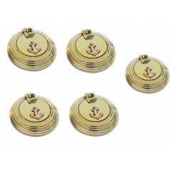 **5 Stück- maritimer Taschen- Aschenbecher - Messing- geriffelt und Ankermotiv Gr.2