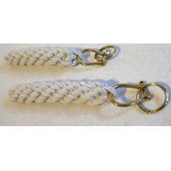 **2er Set- Bändsel/Schlüsselanhänger aus Baumwolle geflochten L 19 cm- Schäkel und Ring Messing