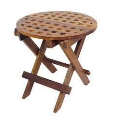Runder Beistelltisch aus Holz-Gartentisch,Campingtisch,Klapptisch,Kajütentisch