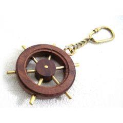Schlüsselanhänger/Ring - maritim- Holz, Messing- Steuerrad