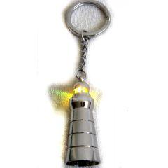 Schlüsselanhänger maritim- Blinklicht gelb-- massiv Messing, vernickelt