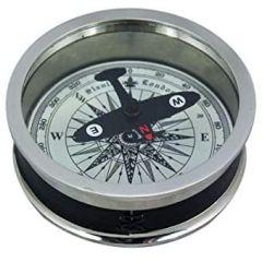 Tischkompass, Kompass, Navigation, vernickelt+ Leder- Flugzeugnadel