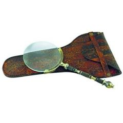 Leselupe, Vergrößerungsglas - Lupe aus Messing, antik 18,5 cm+ Lederetui