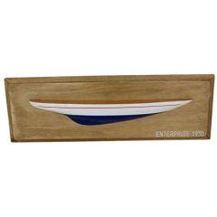 Wanddeko Halbmodell Segler Schiffsrumpf Holz 48 cm blau/weiß