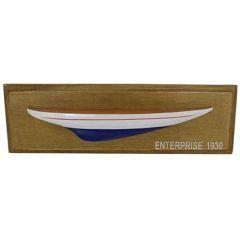Wanddeko Halbmodell Segler Schiffsrumpf Holz 38 cm blau/weiß