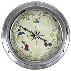 Barometer in Bullaugenform- Zifferblatt Wettermotive- vernickelt- Durchmesser 14,5 cm