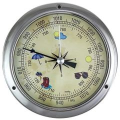 Kleines, leichtes Barometer in Bullaugenform, vernickelt- Durchmesser 11,5 cm
