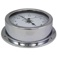 Uhr- in Bullaugenform aus Messing, verchromt- Durchmesser 14,5 cm